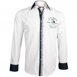 Chemise brodée BLUE WORLD Andrew Mc Allister Y7AM1