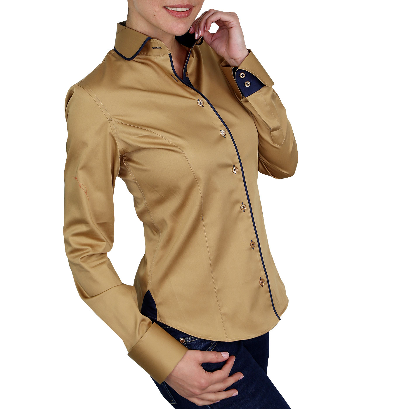 Woman Shirt Round Collar