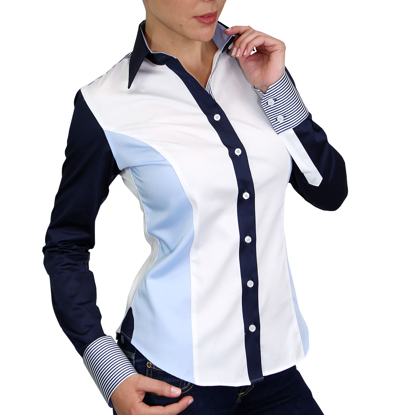 Woman Shirt Two Fabrics