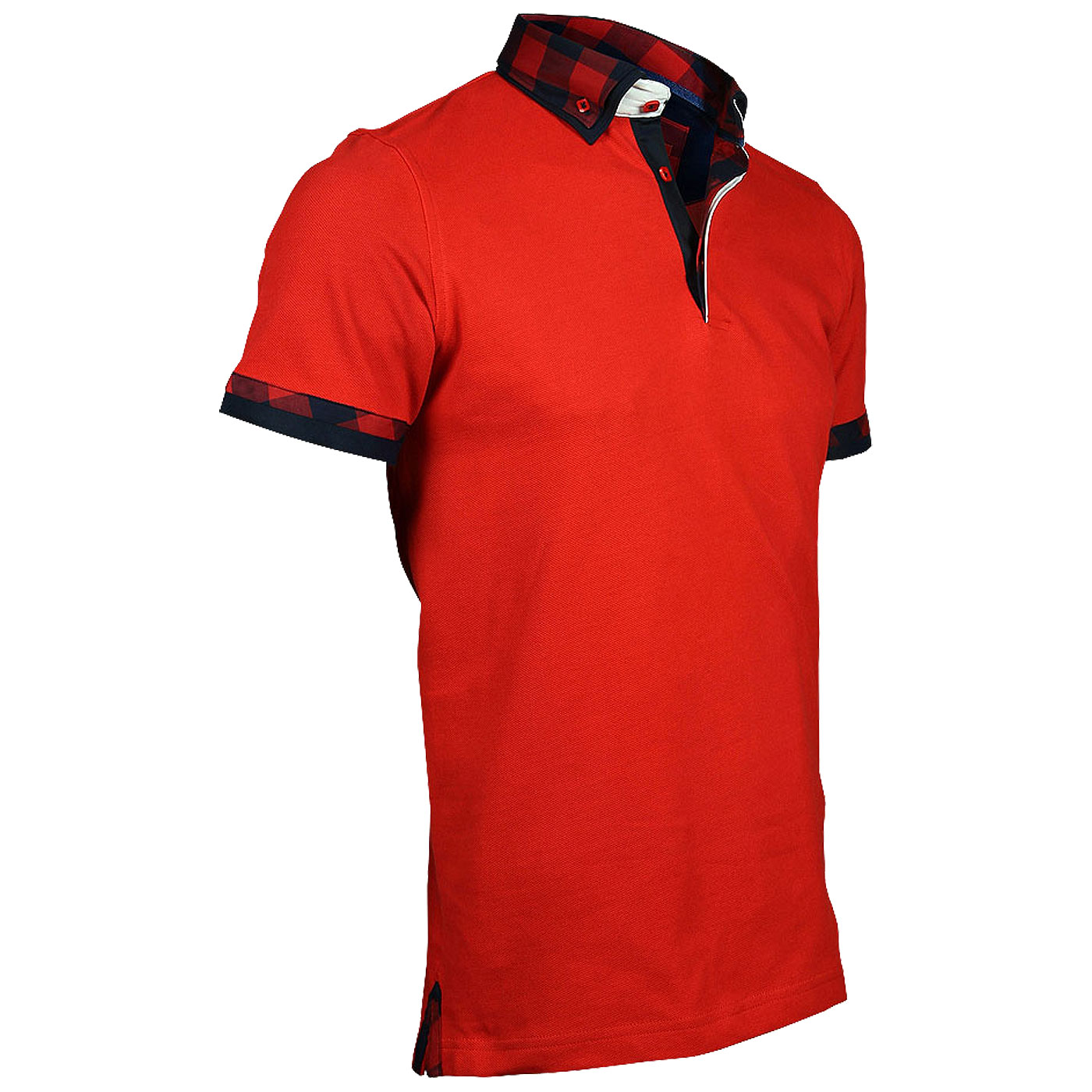 red polo with shirt collar