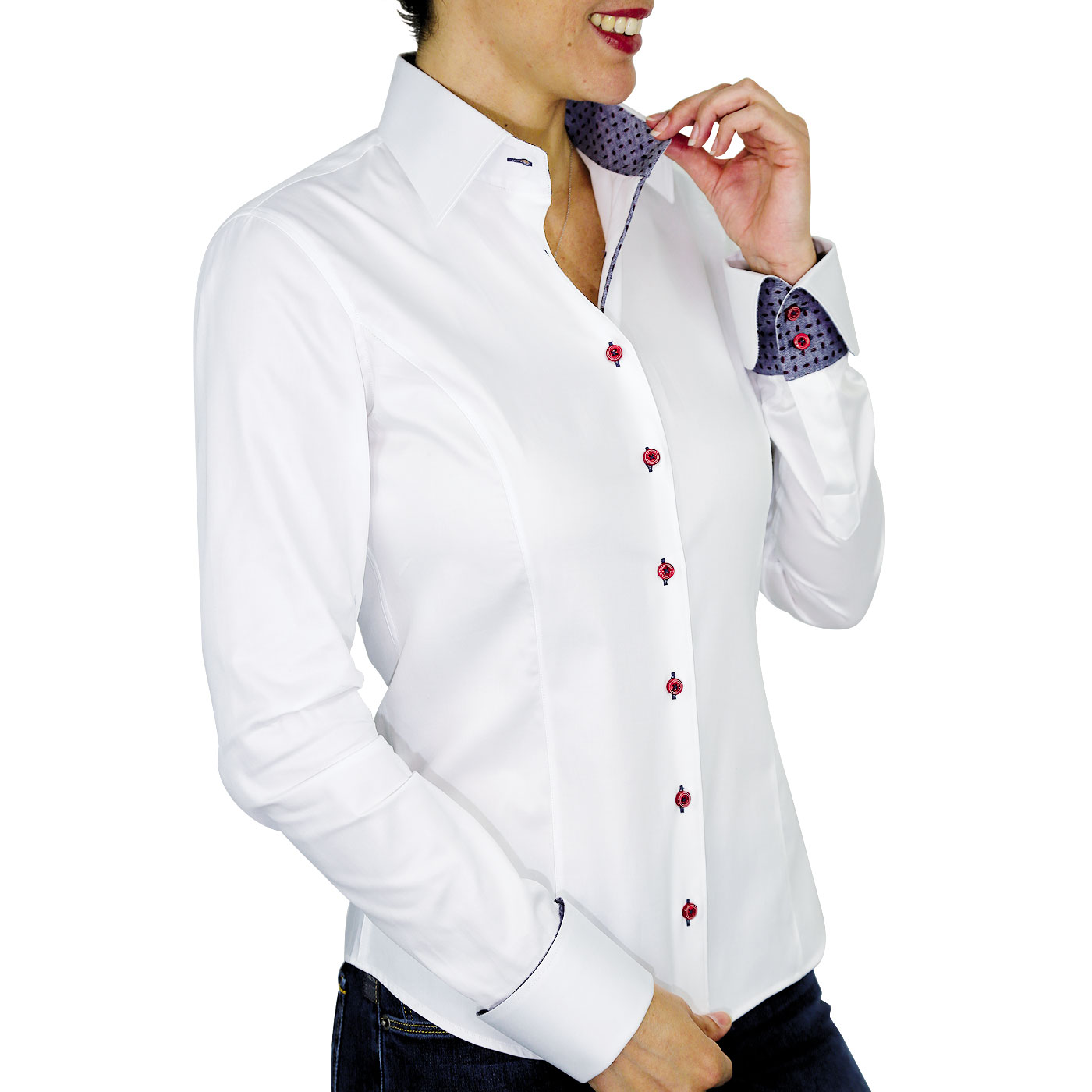 White Women's Shirt Napolitains Cuffs