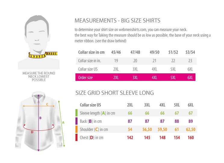 measurements - big size shirts