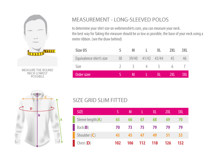 measurements - Long sleeved slim polos